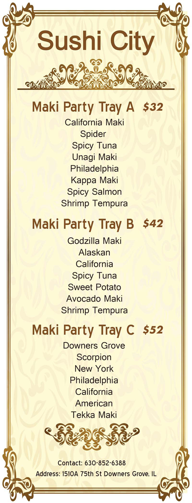 party tray menu